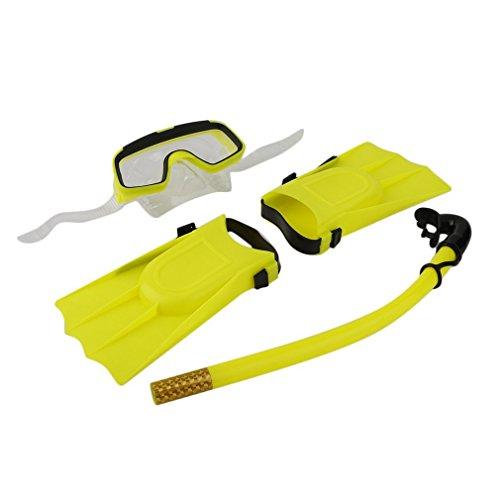 002-fr3 Snorkeling Máscara de Buceo Tubo de respiración Aletas largas Aletas 3 Piezas Snorkels Set (Amarillo)