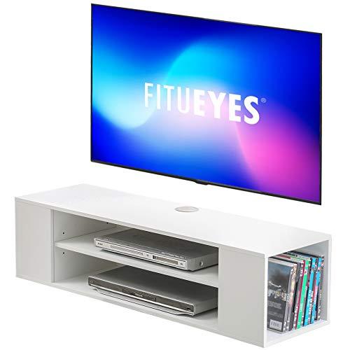 FITUEYES Mueble TV Blanco para Television de 55 Pulgadas Mesa TV Salon con 4 Compartimentos Mueble Suspendido TV Moderno para Hogar Oficina 🔥