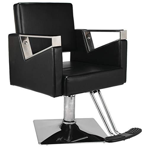 Sillón reclinable giratorio para peluquería, ajustable, color negro