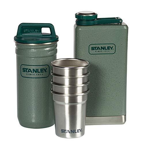 Stanley Adventure Flachmann-Geschenk-Set, 6-teilig, bestehend aus 0.23 L Flachmann, 4 x 6 cl Schnapsbechern und praktischem Behälter, 18/8 Edelstahl