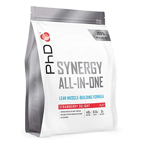 PhD Synergy, All-in-One Whey Protein Powder, with added Creatine and Glutamine for muscle growth, (Strawberry Delight), 2kg