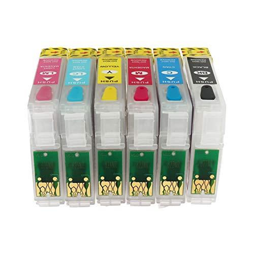 WSCHENG Nuevo T0791 - T0796 Cartucho de Tinta Recargable para EPSON 1400 / PX700W / PX800FW / P50 Impresora con Chips