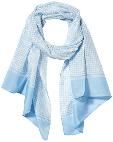 Karl Lagerfeld Paris Damen Daisy Gingham Cotton and Silk Oblong Scarf Schal für kaltes Wetter, Cadet Blau, Einheitsgröße