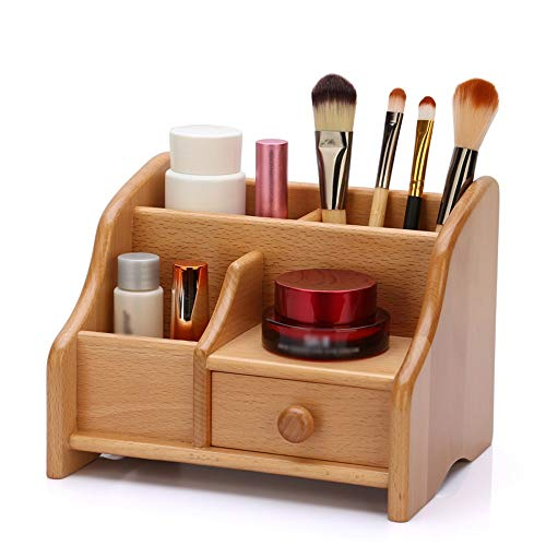 Preisvergleich Produktbild LCNINGSNH Schubladentyp Kosmetik Aufbewahrungsbox Massivholz Fernbedienung Halterung Caddy / Desktop Bürobedarf Speicher-Organisator