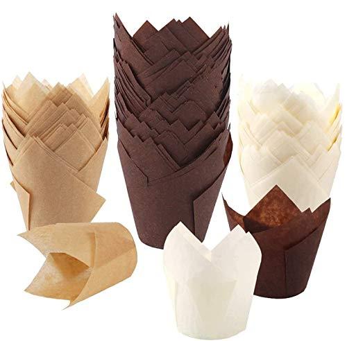 BAKHUK 200pcs Tulip Cupcake Baking Cups
