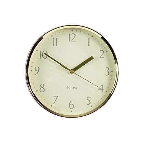JONES CLOCKS®, Dime Wanduhr, modernes Design, poliert, Zeiger und cremefarbenes Zifferblatt (Gold)
