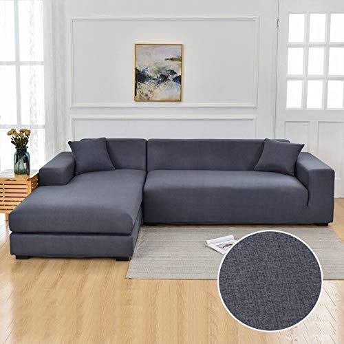 WXQY Funda de sofá de Sala de Estar Chaise Longue, en Forma de L Necesita Comprar 2 Juegos, Funda de sofá elástica Funda de sofá de Esquina en Forma de L A24 3 plazas