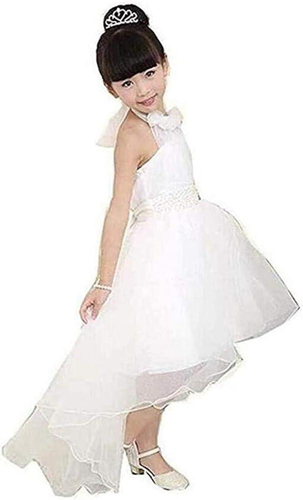 Honeydress Girl's Halter Tulle Communion Dress Backless Ball Gown Dress