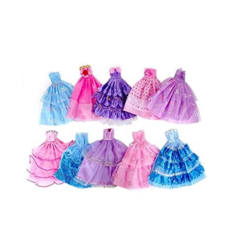 Ropa De Muñeca Vestido De Color De Color Aleatorio Vestido De Muñeca Hecha a Mano Novedad Vestido para La Fiesta De Muñecas Vestido De Novedad Falda De Noche Regalos De Niños