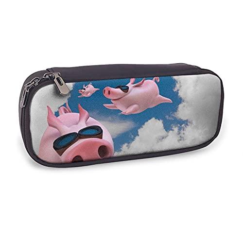 Blue Sky Funny Pig Piggy Flying - Estuche para lápices de piel para niñas y adultos, con bolsa para bolígrafos