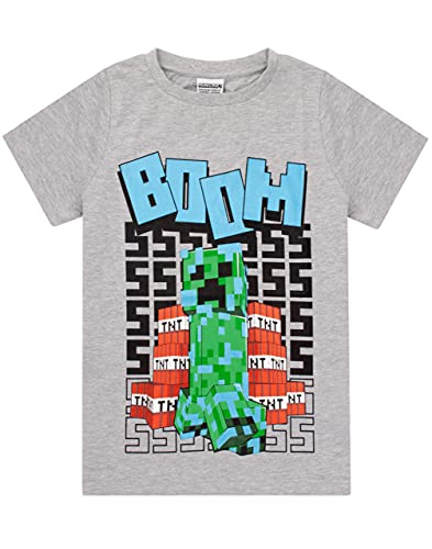 Minecraft T Shirt Boys Cargados Creeper Manga Corta Gris Top Merchandise 7-8 años