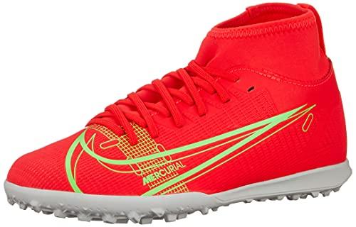 Nike JR Superfly 8 Club TF, Scarpe da Calcio, BRT Crimson/Mtlc Silver-Indigo Burst-White-Rage Green, 36.5 EU