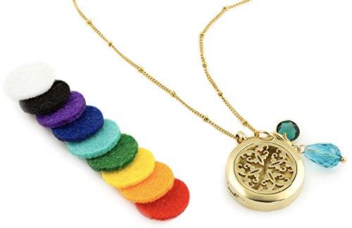 Gold AromaLove London Diffusor-Halskette für ätherisches Öl, Aromatherapie-Schmuck, hypoallergener 316L chirurgischer Edelstahl, 52,8 cm Kette + 9 waschbare Pads