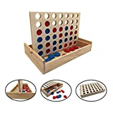 Wooden 4 in a Row Board Game Line up 4 Game Travel Board Games for Kids and Adults