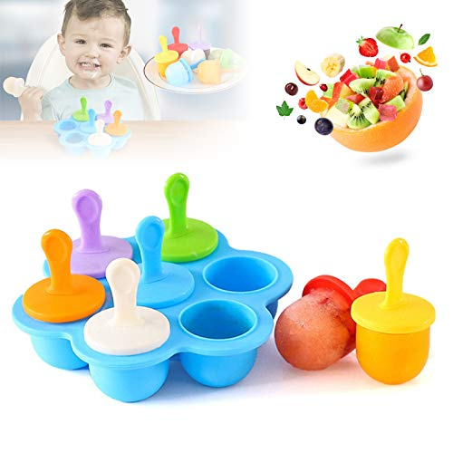 Silicone Popsicle Molds, Food Grade DIY Ice Pop Molds,Colorful Ice Cream Mold Ice Lolly, 7-Hole Popsicle Mold for Kids Food Freezer Trays Ice Pop Maker with Silicone Spoon and Cleaning Brush blue