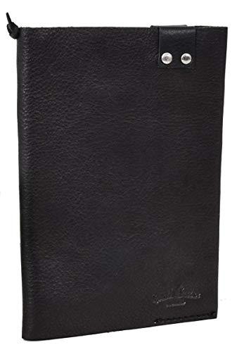 """Gusti Cuir studio """"Gaston"""" couverture de livre protège-document protège-cahier protège bloc-notes format A6 homme femme cuir de buffle noir 2P43-22-9"""