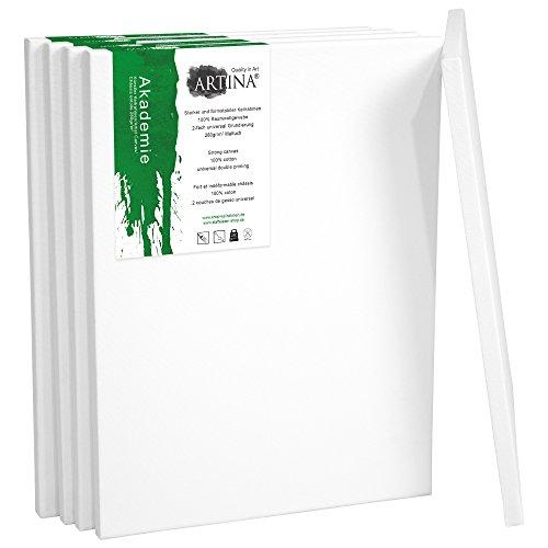 Artina Set da 5 Tele per Pittura Bianche - 50x70 cm - in 100% Cotone, Akademie - 280 g/m² - intelaiate - per dipingere