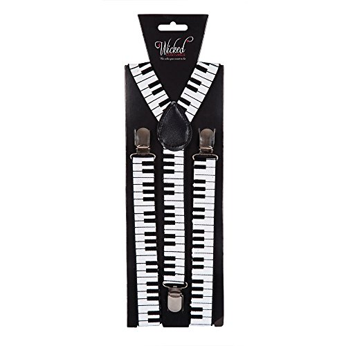 Adult Braces 96 x 2.5cm - PIANO Fancy Dress Accessory