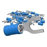AUPROTEC 100x Connettore a Forcella 1,5-2,5 mm² blu foro Ø M3,5 SV Capicorda Preisolati PVC Connettori a Forchetta Rame Stagnato Terminali Crimp per Cavi Fili Elettrici