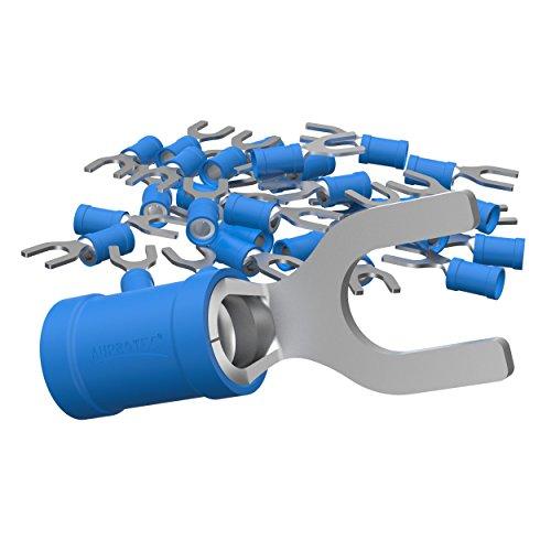 AUPROTEC 100x Gabelkabelschuhe 1,5-2,5 mm² blau, Loch-Ø M5 Teillisoliert PVC SV Kabel-Verbinder aus Kupfer verzinnt