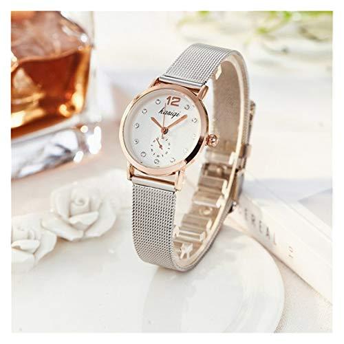 GKXAZ Edelstahl Strass Paar Uhren Mann und Damen Luxus Quarz Armbanduhr Forohen Unisex Watch Hot (Color : Female)