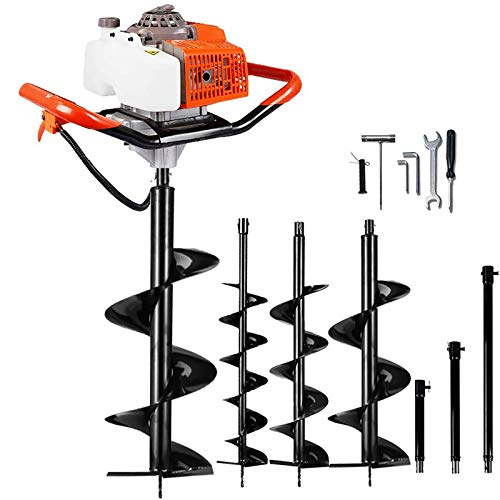 """ECO LLC 63cc Post Hole Digger 3.4HP 2 Stroke Petrol Gas Powered Earth Digger with 4 Auger Drill Bits (4"""" 6"""" 10"""" & 12"""") + 3 Extension Rods for Farm Garden Plant (Subcontract Delivery)"""