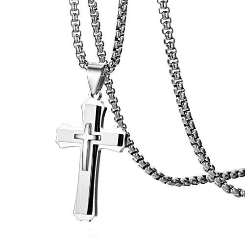 Cupimatch Kreuz Kette Herren Edelstahl Halskette Bibel für Männer Jungen Hals Schmuck Christentum Anhänger 56cm, Silber