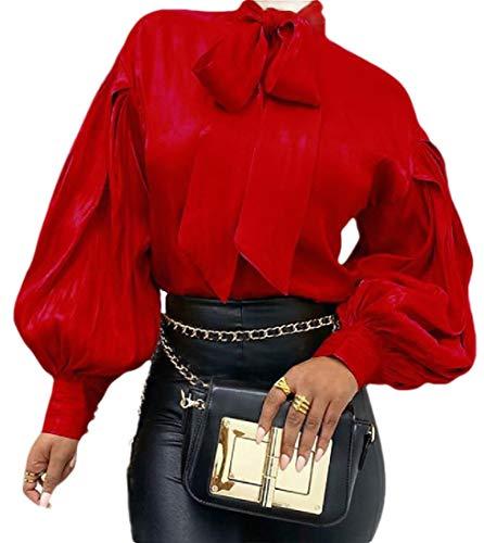 H&E Damen Bluse mit Fliege und Laternenärmeln Gr. M, rot