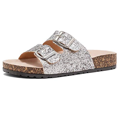 HerStyle Softey Women's Comfort Buckled Slip on Sandal Casual Cork Platform Sandal Flat Open Toe Slide Shoe 1836 SilverGlitter 9.0