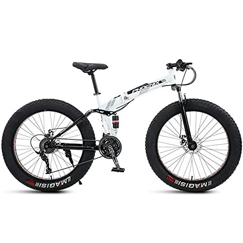 24 Pollici Mountain Bike Fat Tire, Prepotente Uomo Donna Pieghevole Spiaggia Neve Mountain Bicicletta, 4 Pollici Larghi Pneumatici Nodeggiati Outdoor Ciclismo Bici da Strada, Doppi