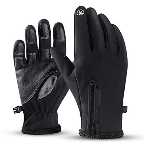 Guantes Motor Invierno Impermeable Pantalla Táctil Guantes Protectores De Moto Dedo Completo para Invierno Al Aire Libre (Negro,XL)