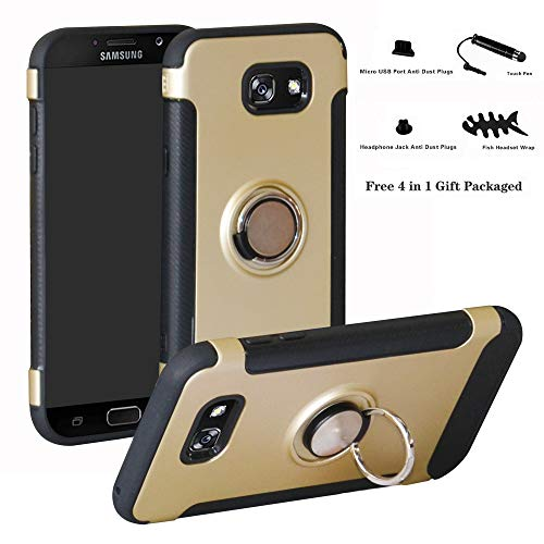 Labanema Galaxy A7 2017 Funda, 360 Rotating Ring Grip Stand Holder Capa TPU + PC Shockproof Anti-rasguños teléfono Caso protección Cáscara Cover para Samsung Galaxy A7 2017 - Oro