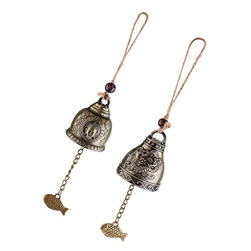 2 Stück Glücksbringer Feng Shui Glocke Buddha Münze für Reichtum und Sicherheit & Erfolg – Haus Garten Auto Innen Hängende Charm Windspiel Bronze