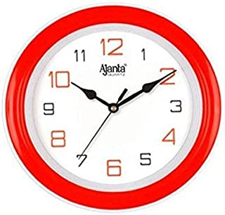 Ajanta - 2147 - RED Round Plastic Wall Clock (20.5 cm x 20.5 cm x 3.5 cm, Red)