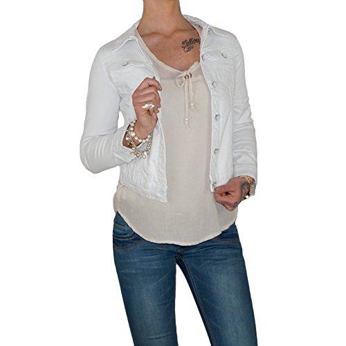 Dresscode-Berlin DB Hochwertige Damen Jeansjacke in blau, schwarz und weiß (L / 40, Weiß)