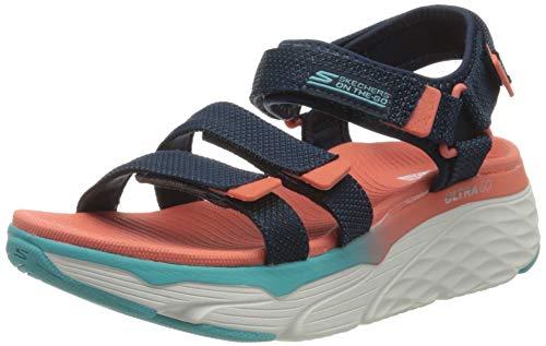 Skechers - Sandalias deportivas acolchadas para mujer Skechers Max Cushioning, Azul (Azul marino/multicolor), 42 EU