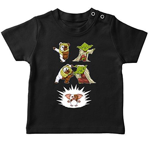 T-Shirt bébé Noir Star Wars - Gremlins parodique Yoda, Un Ewok et Gizmo : Fusion !! YAHA !! (Parodie Star Wars - Gremlins)