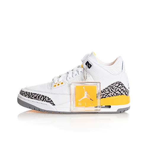 Nike Wmns Air Jordan 3 Retro, Zapatillas de básquetbol para Hombre, White Black Laser Orange Cement Grey, 40.5 EU
