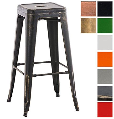 CLP Metall-Barhocker Joshua mit Fußstütze I Stapelbarer Tresenhocker mit Einer Sitzhöhe von: 77 cm I erhältlich Schwarz-Gold