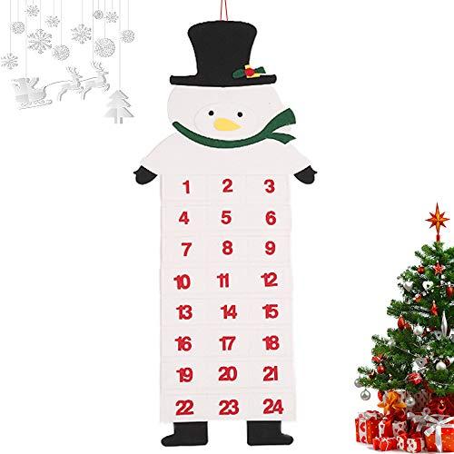 Filz-Adventskalender,Koqit Adventskalender zum Befüllen und Aufhängen Schneemann,Adventskalender zum Befüllen Weihnachtskalender selber basteln für Kinder Mädchen Jungen zu Weihnachten 2021