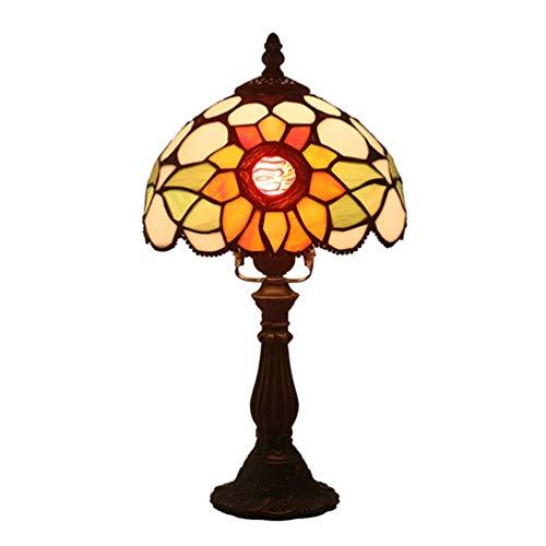 AWCVB Lámpara De Mesa Tiffany Lámparas De Noche Antiguas E27 Vitrales Staw Shadow Desk Base De Zinc para Sala De Estar