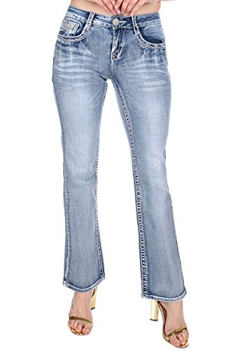 Women's Bootcut Jeans Hand-Sanding Whiskering Contrast Stitching Embroidered Reversed Fleur De...
