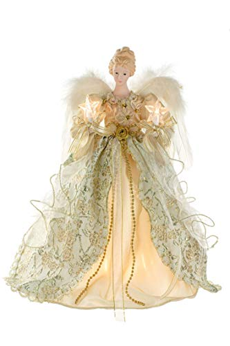 JJ's Holiday Gifts 14.5'' Beige Fabric 10-Light Vintage Angel Tree Topper with Porcelain Head