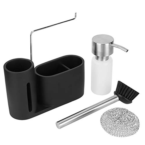 Rejilla para almacenamiento de cocina, recipiente dispensador de detergente para vajilla para fregadero de cocina, botella de prensa de detergente, cepillo de bola de acero para lavavajillas, rejilla