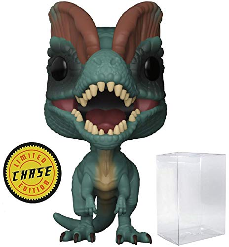 Funko Pop! Movies: Jurassic Park - Dilophosaurus Frill Closed CHASE Variant Limited Edition Vinyl Figure (Bundled with Pop Box Protector Case)