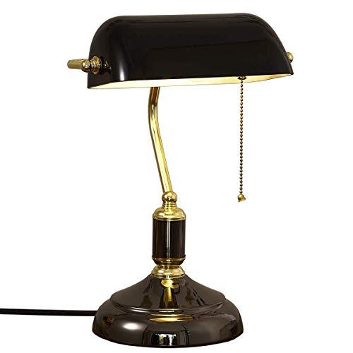 LANMOU Lámpara de Mesa Retro Lámpara de Banqueros Tradicional, Lámpara de Escritorio Estudio con Interruptor de Tiro, Lámpara de Lectura de Cabecera Dormitorio Lámpara de Sobremesa para Oficina, Negro