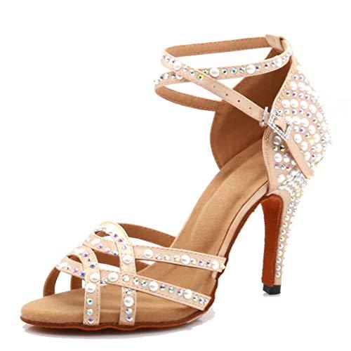 MGM-Joymod Damen Comfort Cross Strap Satin Strass Perle Peep Toe Salsa Tango Latin Modern Hochzeit Ballsaal Tanzschuhe, Beige - Beige 10cm Heel - Größe: 39.5 EU