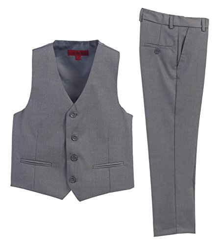 2 Piece Kids Boys Gray Vest and Pants Formal Set, 12