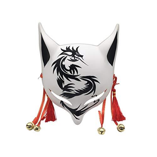 YangYong Kitsune Fox/Dragon Mask for Masquerade Ball, Japanese Cosplay Kabuki