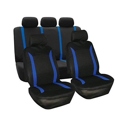 GUOCU Auto-Schonbezüge Set, Universal Vordersitze und Rücksitze Sitzbezüge, Auto-Zubehör Innenraum, Passend für Die Meisten Auto LKW Van SUV Blau 9 Stück